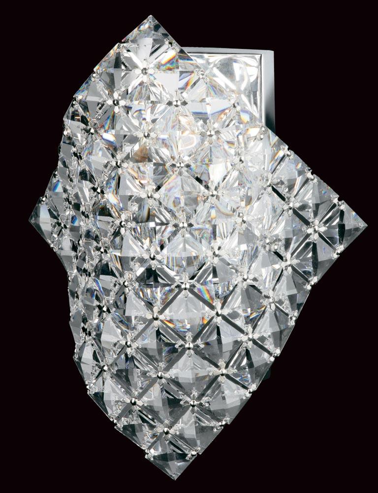 Impex Diamond Cube Strass Crystal 1Light Art Deco Wall Light Chrome