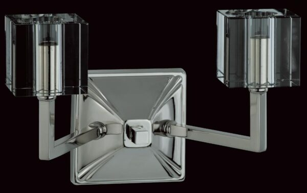 Impex Cube Modern Optic Twin Wall Light Polished Nickel