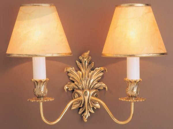 Impex Dauphine Solid Brass Leaf Design Traditional Twin Wall Light