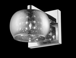 Impex Deni Single Polished Chrome Wall Light With Crystal Detail