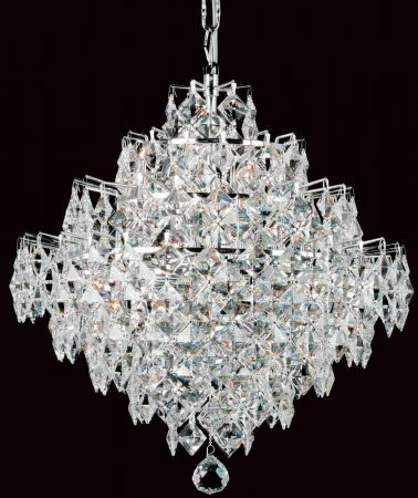 Impex Diamond Strass Crystal 12 Light Art Deco Chandelier Chrome