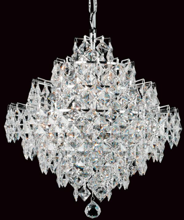 Impex Diamond Strass Crystal 12 Light Art Deco Chandelier Chrome