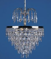 Dresden Strass Crystal 3 Light Tier And Crown Pendant Polished Nickel