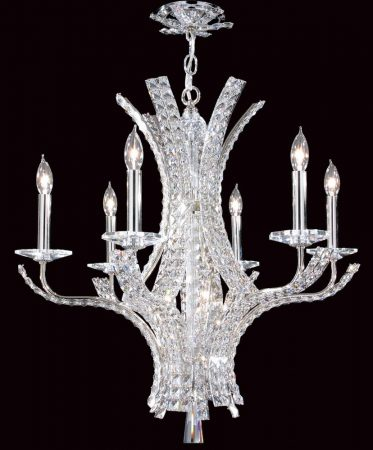 Impex Eclipse Contemporary 6 Light Crystal Chandelier Polished Chrome