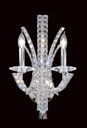 Impex Eclipse Contemporary 2 Lamp Crystal Wall Light Polished Chrome