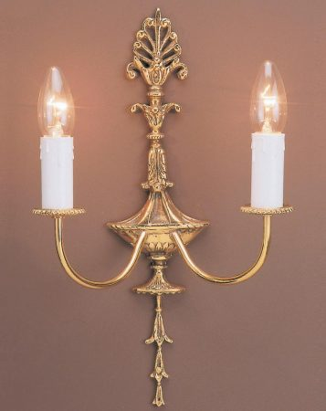 Impex Eden Tall Solid Polished Brass Traditional 2 Lamp Wall Light