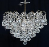 Impex Emmie 5 Light Crystal Pendant Chandelier Antique Brass