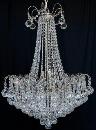 Impex Emmie Large 9 Light Crystal Chandelier Antique Brass