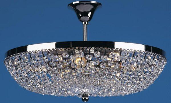 Essen Polished Nickel Flush 5 Lamp Strass Crystal Ceiling Light