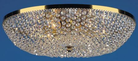 Essen  Gold Plated Flush 6 Lamp Strass Crystal Ceiling Light