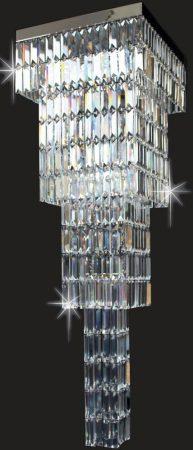 Impex Square Crystal Art Flush 4 Light Chandelier Polished Chrome