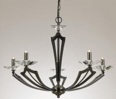Impex Genoa Art Deco 5 Light Chandelier With Crystal Gunmetal