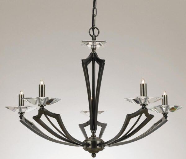 Impex Genoa Art Deco 5 Light Chandelier With Crystal Gunmetal