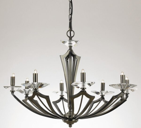 Impex Genoa Art Deco 8 Light Chandelier With Crystal Gunmetal