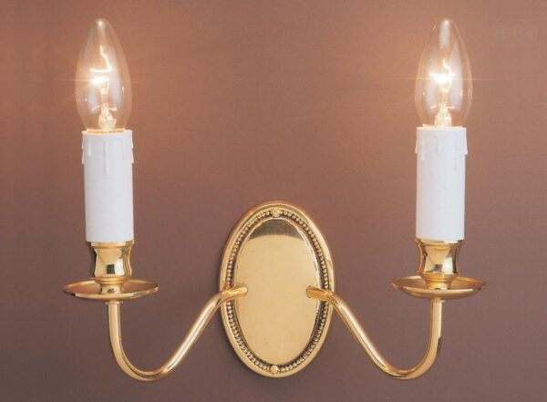 Impex Georgian Solid Brass 2 Lamp Wall Light Brooklands Collection