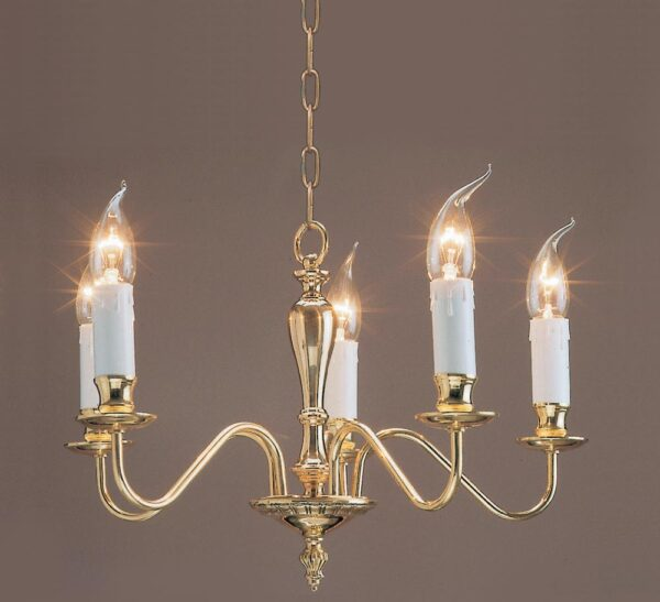 Impex Georgian Solid Brass 5 Light Chandelier Brooklands Collection