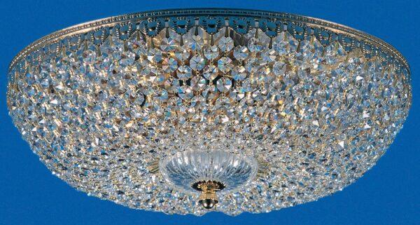 Hanover Gold Plated Flush 5 Lamp Strass Crystal Ceiling Light