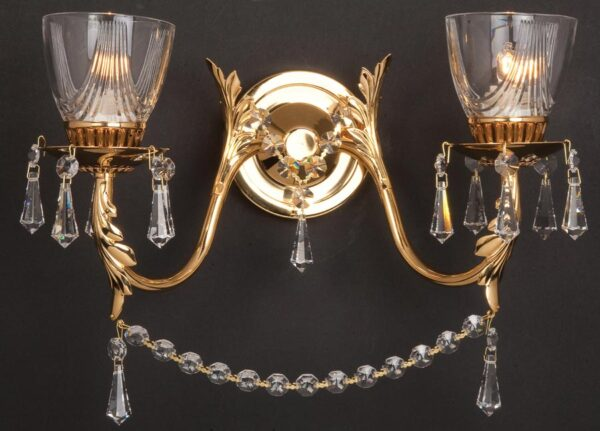 Impex Livorno Strass Crystal 2 Lamp Wall Light Gold