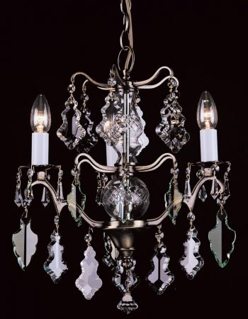 Impex Louvre 3 Light Hand Cut Crystal Chandelier Antique Brass