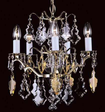Impex Louvre 5 Light Hand Cut Crystal Chandelier Polished Brass