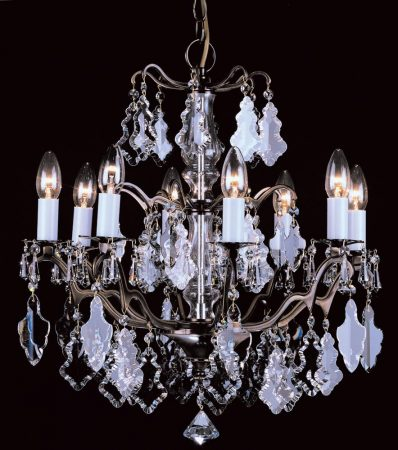 Impex Louvre 8 Light Hand Cut Crystal Chandelier Antique Brass