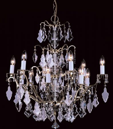Impex Louvre Large 12 Light Hand Cut Crystal Chandelier Polished Brass