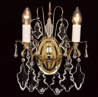 Impex Louvre 2 Light Hand Cut Crystal Wall Light Polished Brass