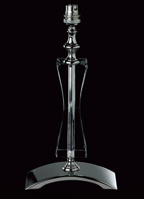 Impex Mainz Optic Glass Table Lamp Base Polished Nickel
