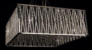 Impex Melenki Square Chrome 5 Light Crystal Pendant Contemporary