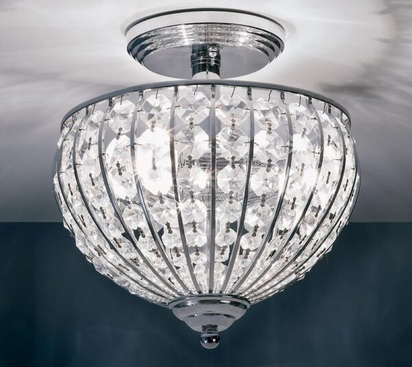Impex Metz Crystal 3 Light Semi Flush In Polished Chrome