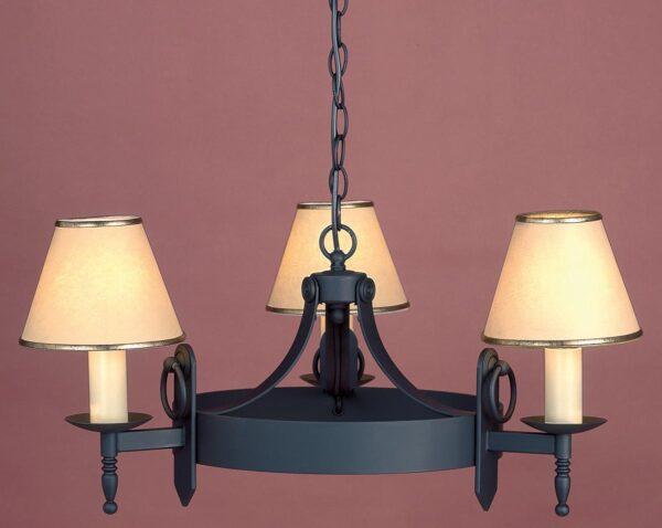 Impex Mitre Black Iron Work 3 Light Gothic Chandelier Made In Britain