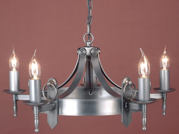 Impex Mitre Sterling Iron Work 5 Light Gothic Chandelier Made In Britain