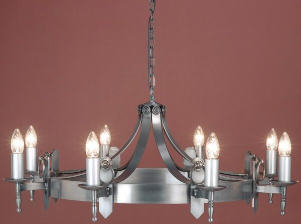 Impex Mitre Sterling Iron Work 8 Light Gothic Chandelier Made In Britain