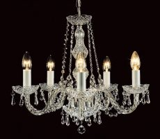 Impex Modra Chrome 5 Light Georgian Style Chandelier Strass Crystal