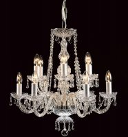 Impex Modra Chrome 12 Light Georgian Style Chandelier Strass Crystal