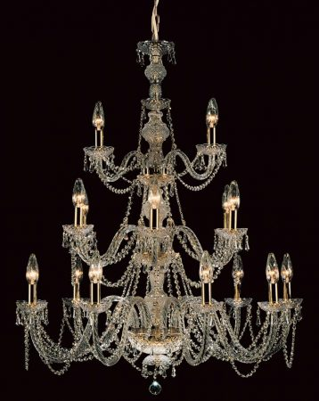 Impex Modra Large 24 Light Georgian Style Chandelier Strass Crystal