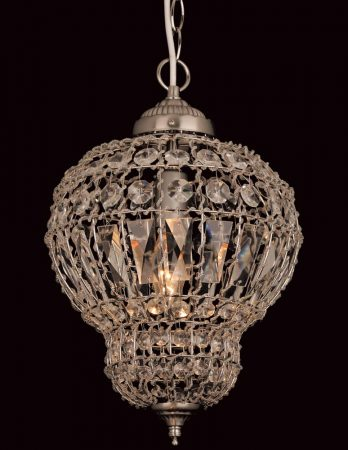 Impex Morocco 1 Light Crystal Pendant Lantern Satin Nickel