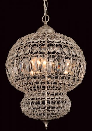 Impex Morocco 3 Light Crystal Pendant Lantern Satin Nickel