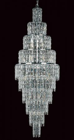 Impex New York Large 24 Light Crystal Chandelier Polished Chrome