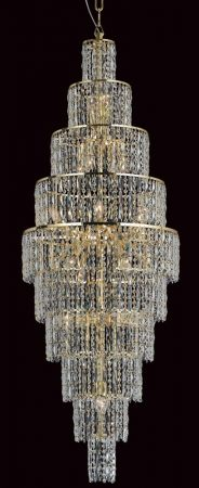 Impex New York Large 24 Light Crystal Cascade Chandelier Gold