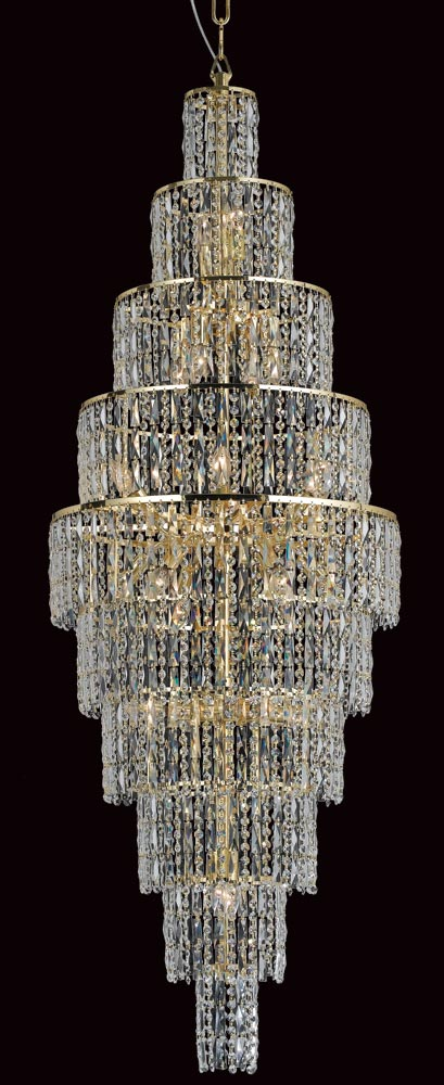 Impex New York Large 24 Light Crystal Chandelier Gold
