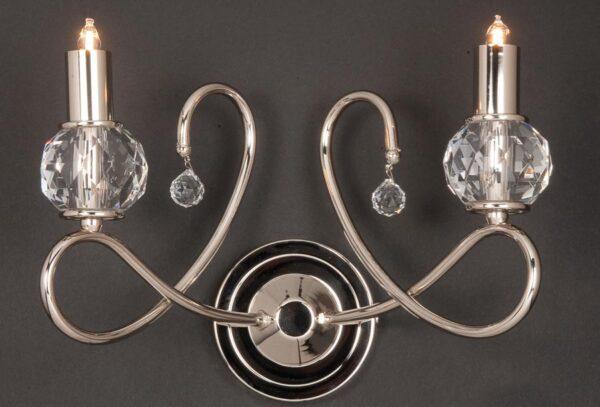 Impex Novara 5 Light Polished Nickel Chandelier K9 Crystal