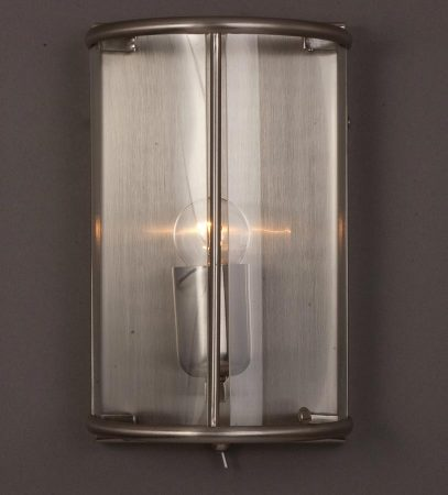 Impex Orly 1 Light Half Wall Lantern With Switch In Satin Nickel