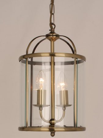 Impex Orly 2 Light Traditional Hanging Lantern In Antique Brass