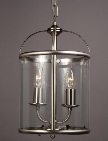 Impex Orly 2 Light Traditional Hanging Lantern In Satin Nickel