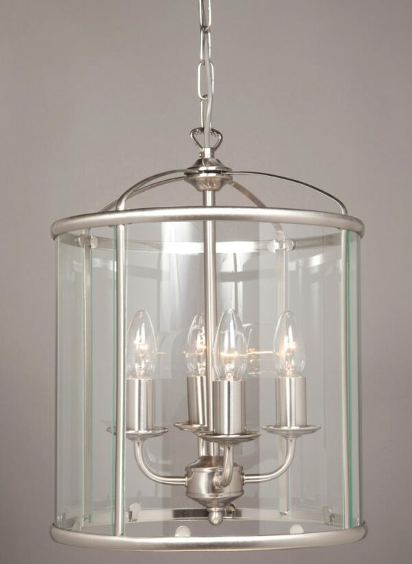 Impex Orly 4 Light Traditional Hanging Lantern In Satin Nickel