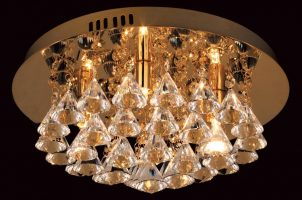 Impex Parma Small Circular Gold 4 Light Flush Crystal Ceiling Light