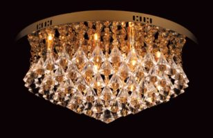 Impex Parma Circular Gold 6 Light Flush Crystal Ceiling Light
