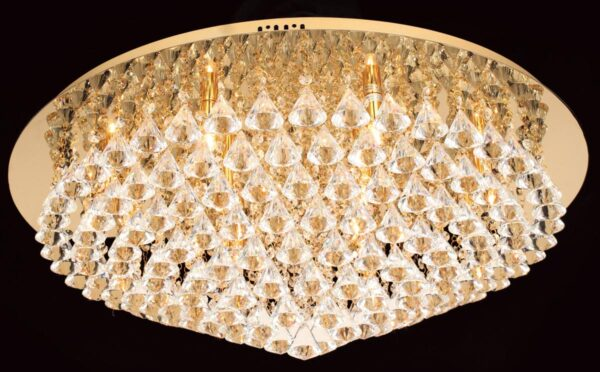 Impex Parma Large Circular Gold 12 Light Flush Crystal Ceiling Light