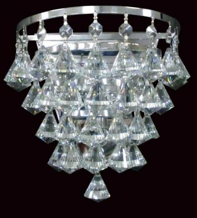 Impex Parma Flush Half Round Crystal Wall Light In Gold